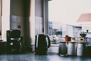a black coffee maker